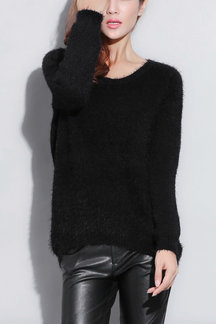 Black Round Neck Kint Jumper