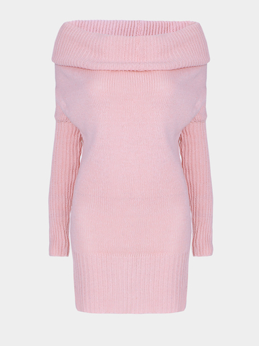 Pink Chunky Off Shoulder Long Bat-wing Sleeve Casual Sweater Dress