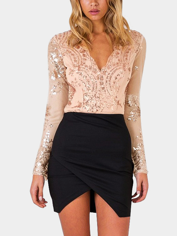 Long Sleeves Embroidered Sequin Sexy Bodysuit
