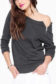 Grey Asymmetric Zip Shoulder Jersey Top