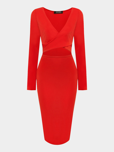 Jacinth Cut Out Midi Dress with Cross Front