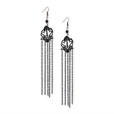 Black Vintage Tassel Drop Earrings