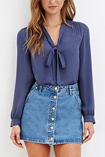 See-through Pleats Royal Blue Straps Front Shirt