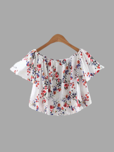 Random Floral Pattern Off-shoulder Cropped Top