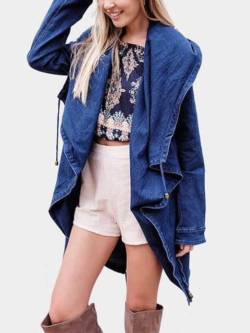Dark Blue Drawstring Hooded Denim Trench Coat