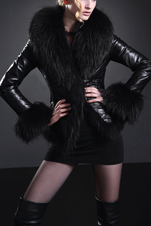 Leather Look Jacket with Artificial Fur Details