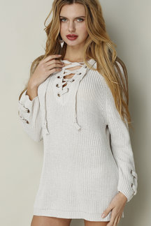 White Lace-up Knit Long Raglan Sleeves Sweater
