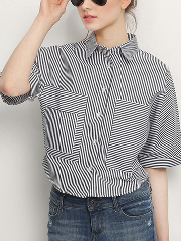 Stripe Pattern Short Sleeve Collar Shirt with Buttons