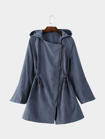 Blue Hooded Trench Coat With Drawstring Waist