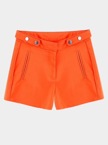Orange Shorts With Decorate Side Pockets