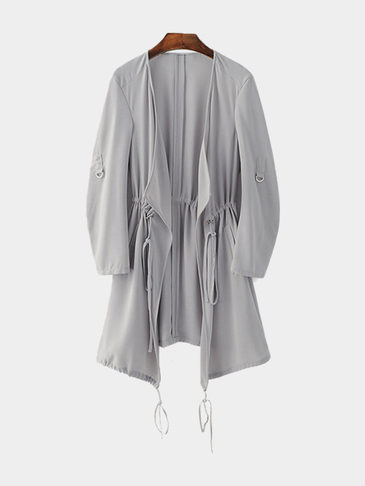 Gray Chiffon Trench Coat With Drawstring Waist