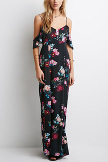 Sexy Plunge Backless Cold Shoulder Random Floral Print Cami Maxi Dress with Lining