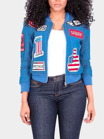 Blue Zip Pockets Stitching Embroidery Fashion Jacket