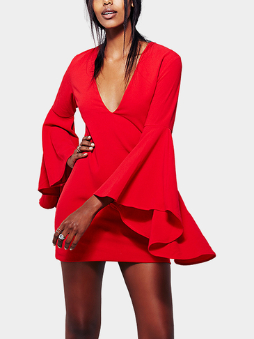 Sexy V-neck Flared sleeves Bodycon Dress