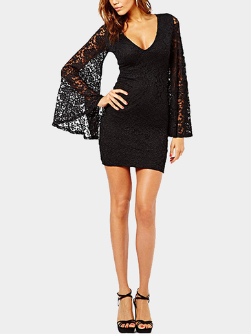 Black Long Sleeve Lace Flare Sleeve Sexy V-neck Mini Dress