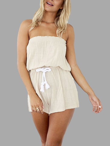 Fashion Off Soulder Open Back Drawstring Waist Playsuit
