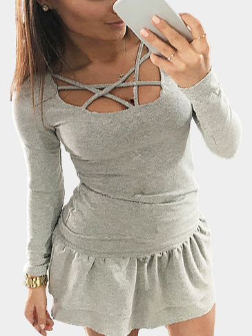 Grey Sexy Crossed Straps T-shirt