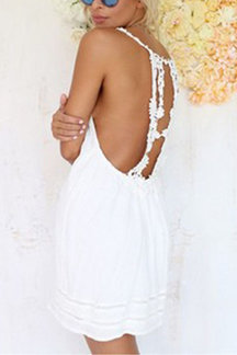 Белый Backless Кружева Cami платье