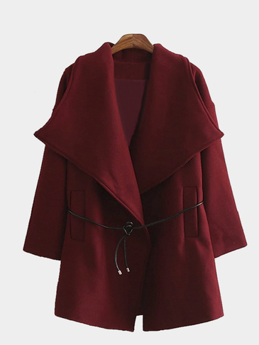 Burgundy Drape Coat with Belt