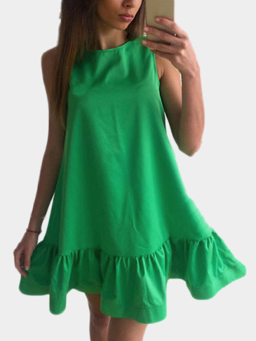 Green Round Neck Sleeveless Flounced Hem Mini Dress