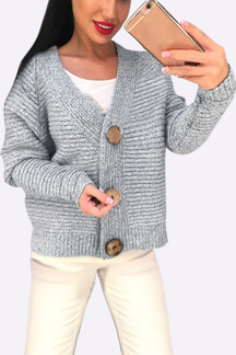 Grey Long Sleeves Loose Jumper with Button Closure
