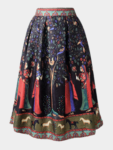 Vintage Tribe Print  A-line Midi Skirt With Pleated Hem