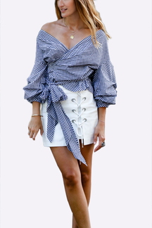Crossed Front Straps Details Grid Pattern Blouse