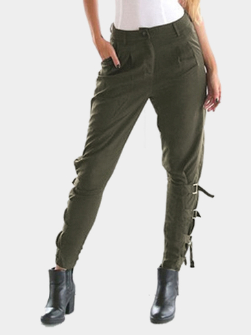 Army Green Side Pockets Adjustable Details Casual Pants
