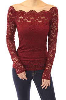 Sexy Red Off Shoulder Lace Design Long Sleeve Blouse