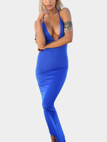 Plunge Neck Crossed Back Maxi Dress