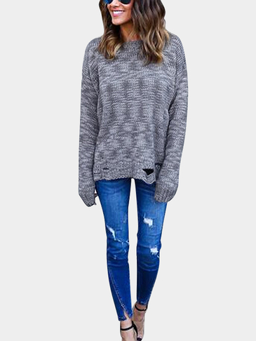Round Neck Pullover Ripped Details Jumper