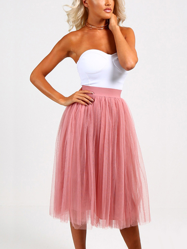 Pink Stretchable Waist Pleated Skater Skirt