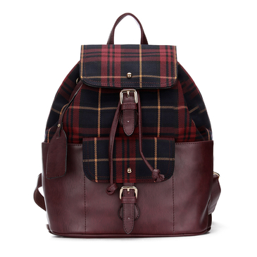 Burgundy Checked Canvas Leather-look Backpack with Drawstring