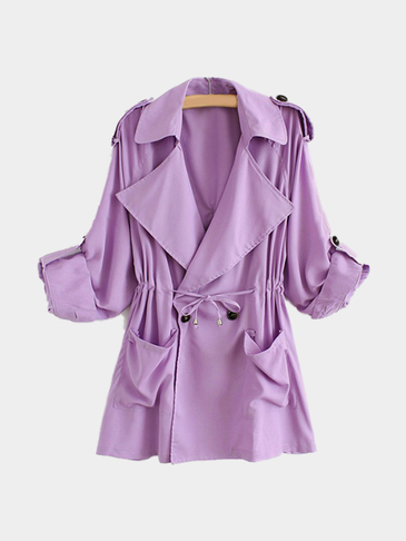 Purple Trench Coat With Drawstring Waist