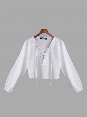 White See-through V-neck Lace-up Front Design Irregular Hem Crop Top