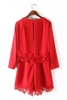 Red Long Sleeve Round Neckline Playsuit with Lace Trim