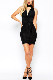 Multiway Silky Bodycon Dress in Black