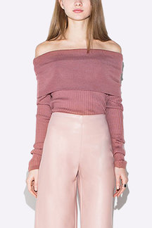 Hotpink Sexy Knitted Off shoulder Jumper