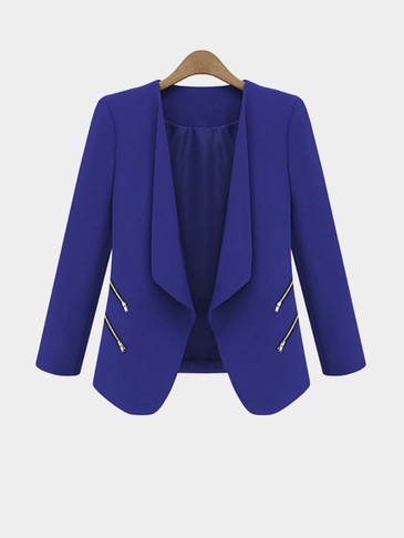 Navy Long Sleeves Open Front Zipper Details Blazer