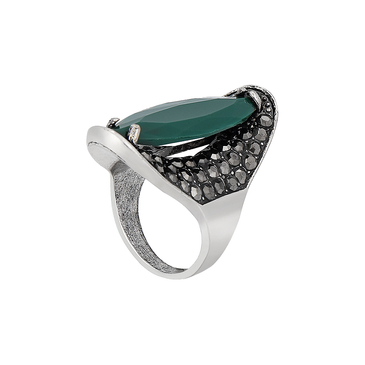 Emerald Long Facetted Stone Ring