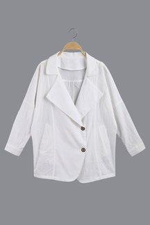 White Lapel Collar Coat With Side Pockets