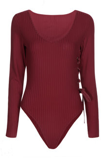 Sexy Burgundy V Neck Lace-up Side Bodysuit