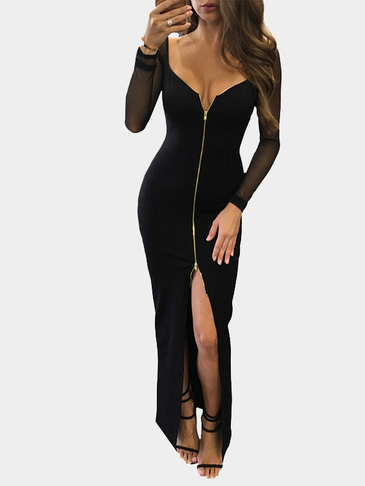 Черный Sexy Глубокий V Zipper Front Backless Split Хем платье