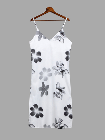 Plunge Random Floral Pattern Splited Hem Zipper Side Dress