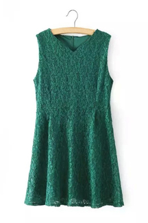 Green V-neck Zip Back Closure Sleeveless Lace Dress