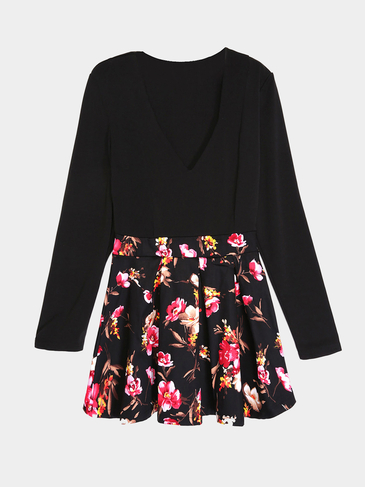 Plunge V-neck Floral Printing Mini Dress in Black