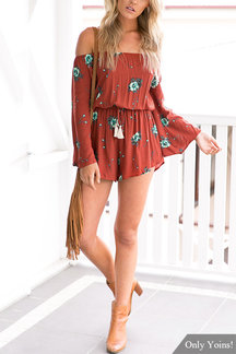 Off Shoulder Flared Sleeves Drawstring at Waist with Tassel Detail Pleats Playsuit
