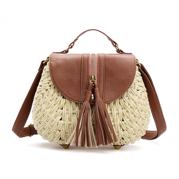 Beige Flap-top With Tassel Woven Shoulder Bag