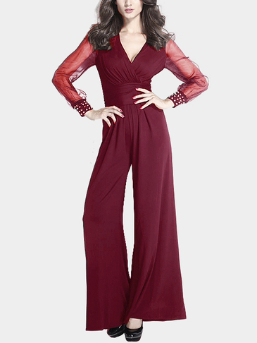 Sexy V-neck High Waist Flared Jumpsuit in Burgundy