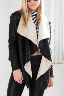 Leather-Look Waterfall Biker Jacket With Fleece Lining